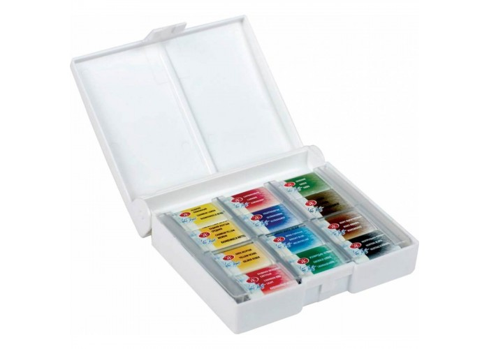 """Watercolor paint set in cuvettes Nevskaya Palitra """"White Nights"""" 12 colors"""