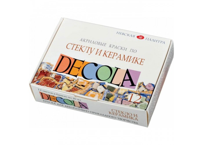 "Acrylic paint set Nevskaya Palitra ""Decola"" glass and ceramics 12 colors 20ml"