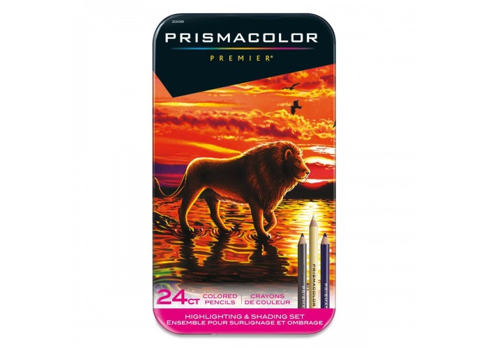 Colored pencils Prismacolor Premier - Highlighting and Shading 24 colors in metallic case
