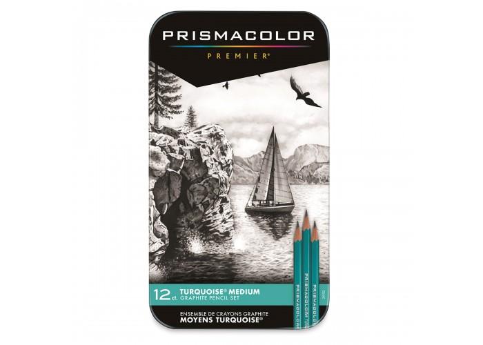 Turquoise pencils Prismacolor 4B-6H - 12 pieces