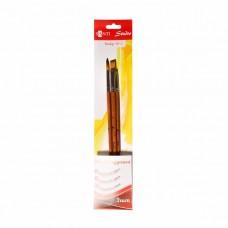 """Set of synthetic brushes №2 """"Santi Studio"""" round (№2, 8) flat (№10)"""