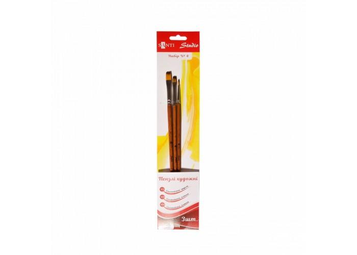 """Set of synthetic brushes №4 """"Santi Studio"""" flat (№4, 8) round (№2)"""