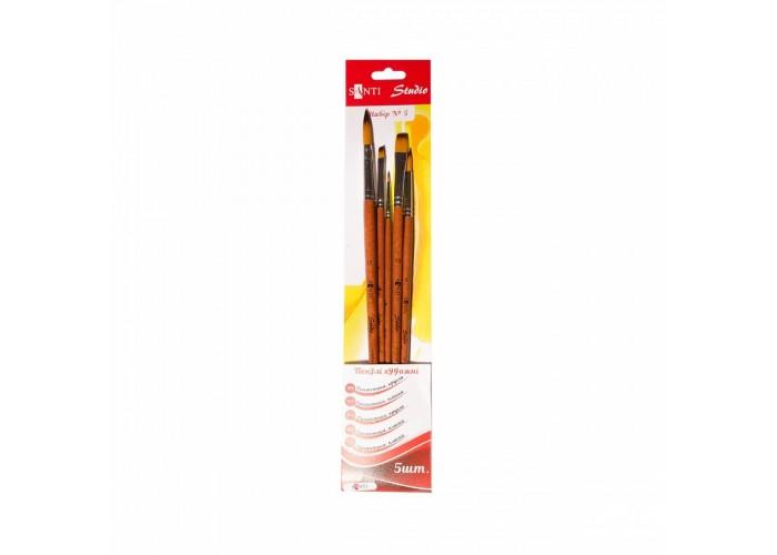 """Set of synthetic brushes №5 """"Santi Studio"""" round (№1, 6, 12) flat (№4, 10)"""