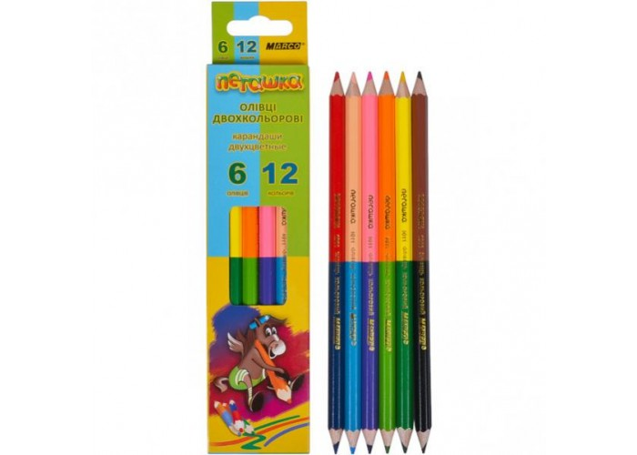 Colored pencils Marco Pegashka 12 colors bilateral (1011-6CB)