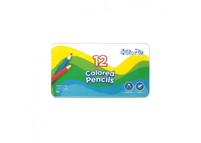 Colored pencils Marco Colorite 12 colors in metal case (1100-12TN)