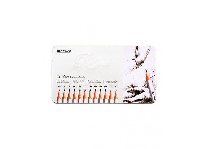 Graphite pencils mix 2H-8B Marco Raffine 12 pieces (7000-12TN)