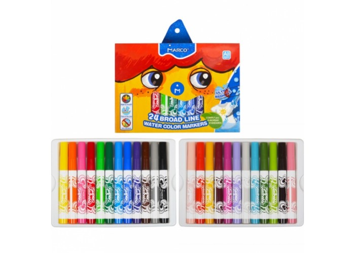 Felt tip markers Marco Super Washable Jumbo thick 24 colors (1632-24CB)