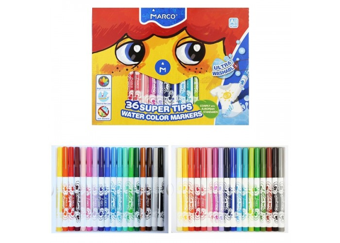 Felt tip markers Marco Super Washable Jumbo thick 36 colors (1632-36CB)