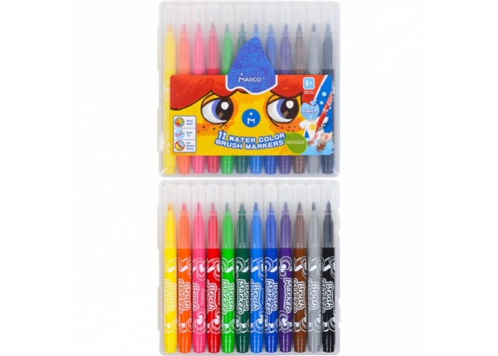 Felt tip markers-brush Marco Super Washable 12 colors (1633-12PB)