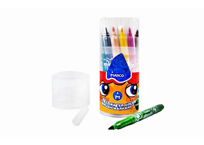 Felt tip markers-brush Marco Super Washable 21 colors in tube (1633-21PD)
