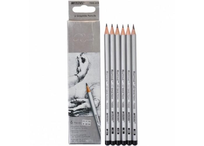Graphite pencils 2H-3B Marco Raffine 6 pieces (7000-6CB)