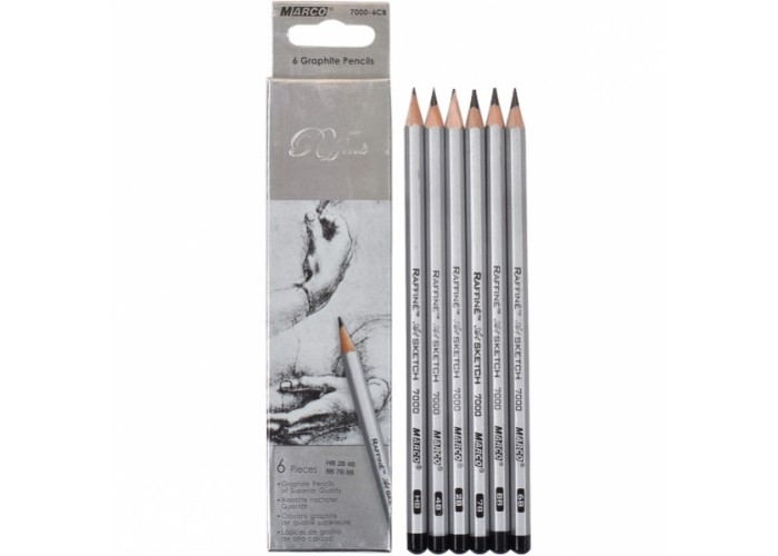 Graphite pencils 2H-3B Marco Raffine 6 pieces (7000-6CB)
