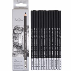 Charcoal pencils Marco 12 pieces black (7010-12CB)