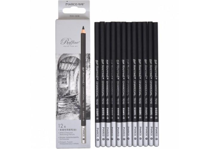 Charcoal pencils Marco 12 pieces black (7010-12CB)