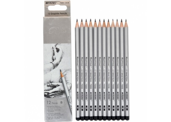 Graphite pencils B Marco Raffine 12 pieces (7000-12CB)