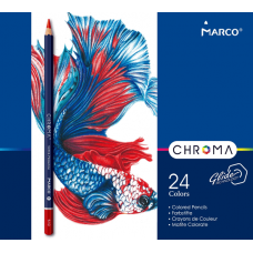 Colored pencils Marco Chroma 24 colors in a metal case (8010-24TN)