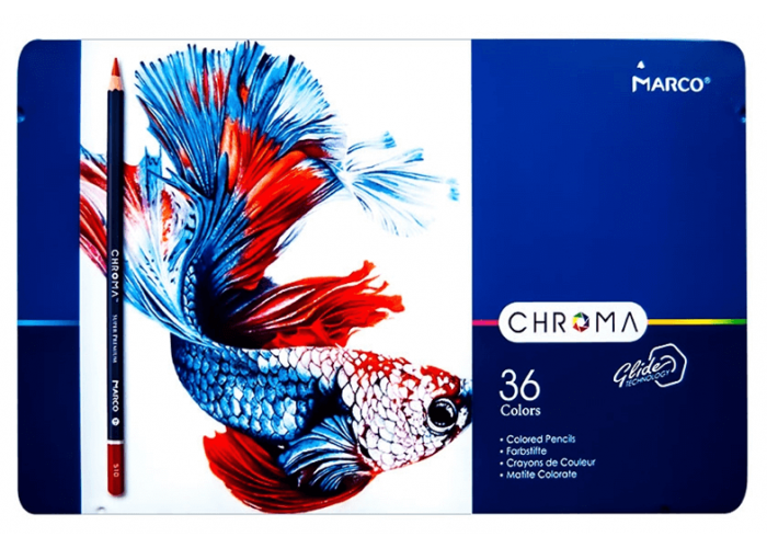 Colored pencils Marco Chroma 36 colors in a metal case (8010-36TN)