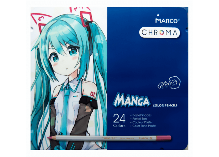 Colored pencils Marco Chroma Manga pastel 24 colors in metal case (8550-24TN)